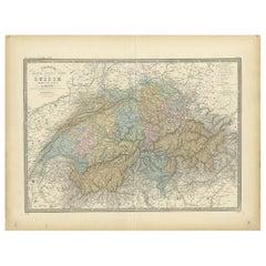 Antique Map of Switzerland by Levasseur '1875'