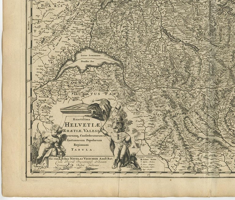 Antique Map of Switzerland by N. Visscher, circa 1690 In Good Condition For Sale In Langweer, NL