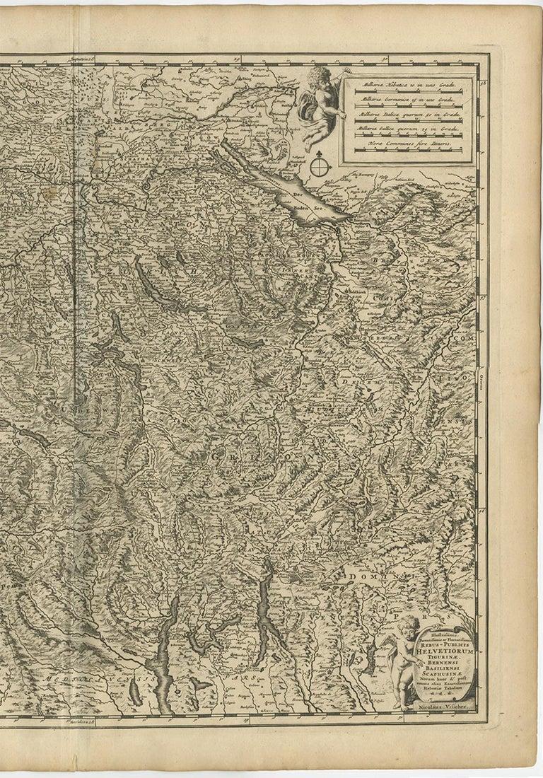 17th Century Antique Map of Switzerland by N. Visscher, circa 1690 For Sale