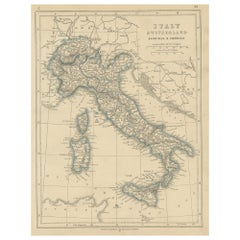 Antique Map of Switzerland, Italy, Sardinia and Corsica by Lowry, '1852'