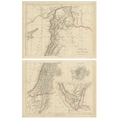 Antique Map of Syria and Arabia Petraea by Lowry '1852'