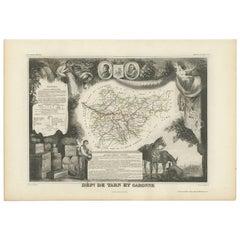 Antique Map of Tarn and Garonne 'France' by V. Levasseur, 1854