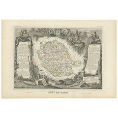 Antique Map of Tarn 'France' by V. Levasseur, 1854