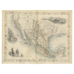 Antique Map of Texas, California and the Southwest by Tallis, c.1850