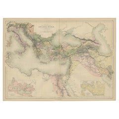 Antique Map of the Ancient World by A & C. Black, 1870