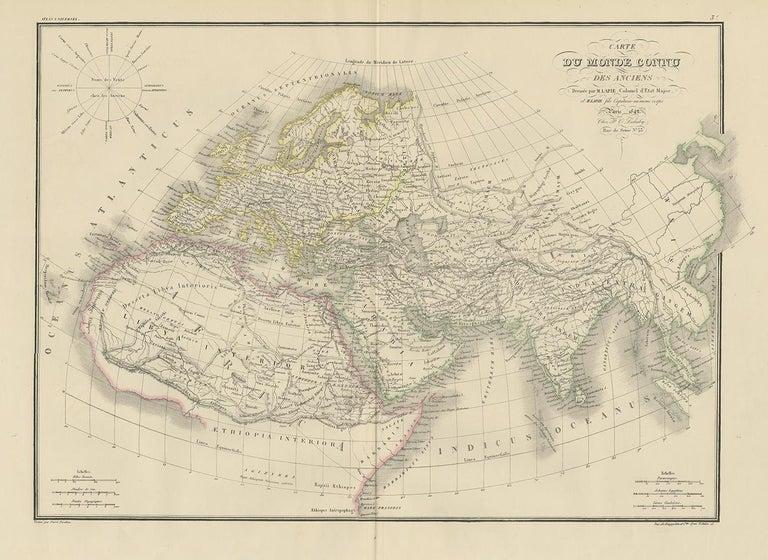 Antique map titled 'Carte du Monde Connu des Anciens'. Map of the Ancient World. This map originates from 'Atlas universel de géographie ancienne et moderne (..)' by Pierre M. Lapie and Alexandre E. Lapie. Pierre M. Lapie was a French cartographer