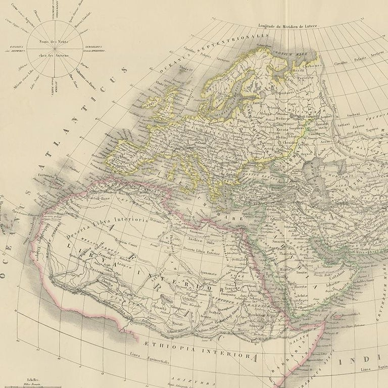 Antique Map of the Ancient World by Lapie, 1842 In Good Condition For Sale In Langweer, NL