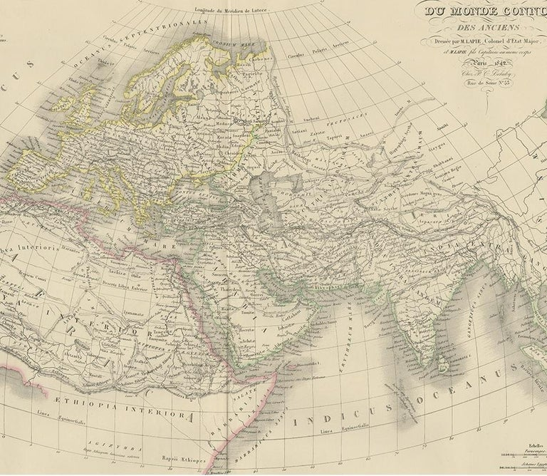 19th Century Antique Map of the Ancient World by Lapie, 1842 For Sale