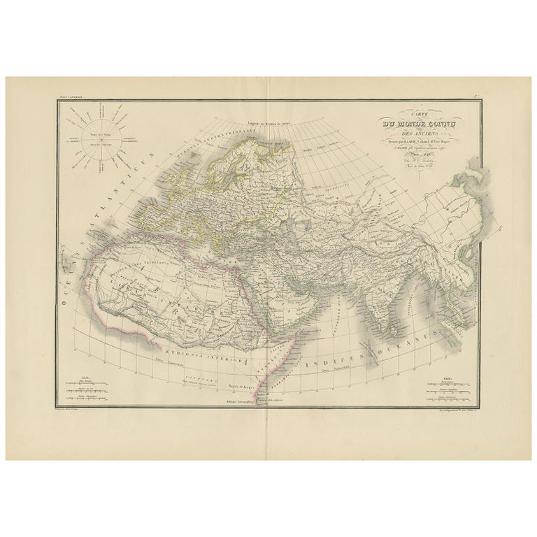 Antique Map of the Ancient World by Lapie, 1842 For Sale