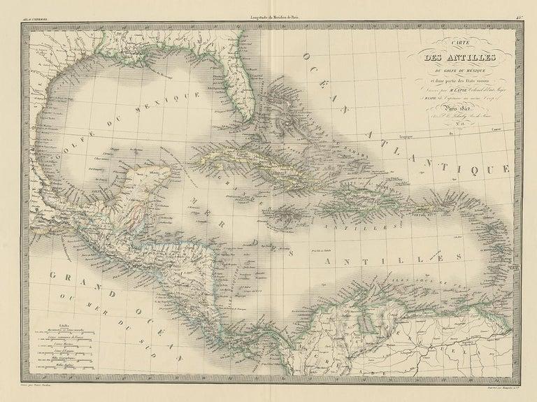 Antique map titled 'Carte des Antilles du Golfe du Méxique'. Map of the Antilles. This map originates from 'Atlas universel de géographie ancienne et moderne (..)' by Pierre M. Lapie and Alexandre E. Lapie. Pierre M. Lapie was a French cartographer