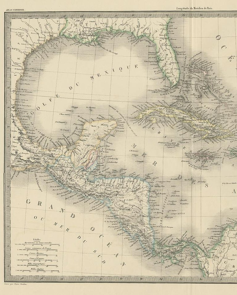 Antique Map of the Antilles by Lapie, '1842' In Good Condition For Sale In Langweer, NL