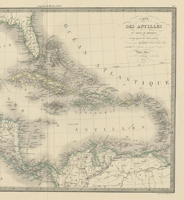 19th Century Antique Map of the Antilles by Lapie, '1842' For Sale