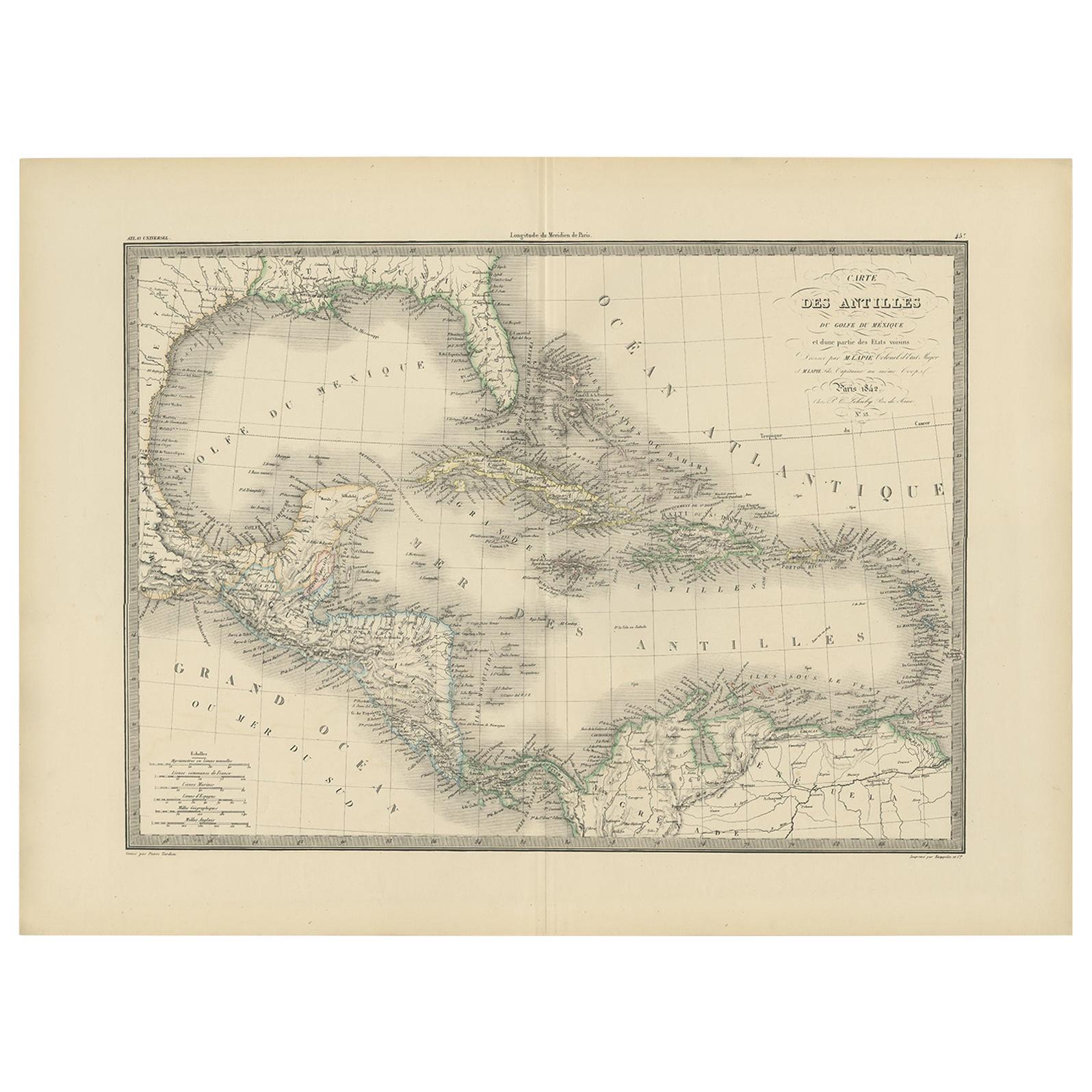 Antique Map of the Antilles by Lapie, '1842'
