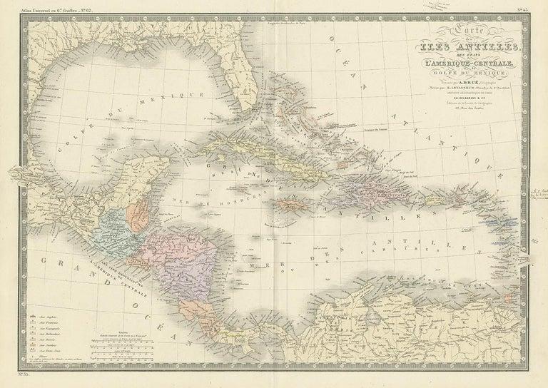 Antique map titled 'Carte des Iles Antilles'. Large map of the Antilles. This map originates from 'Atlas de Géographie Moderne Physique et Politique' by A. Levasseur. Published, 1875.