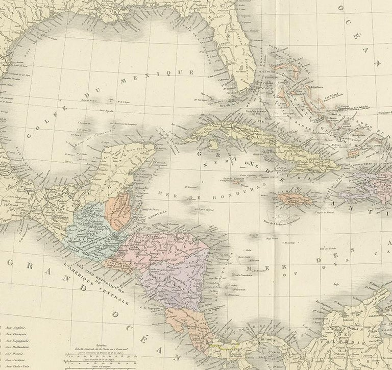 Antique Map of the Antilles by Levasseur, '1875' In Good Condition For Sale In Langweer, NL