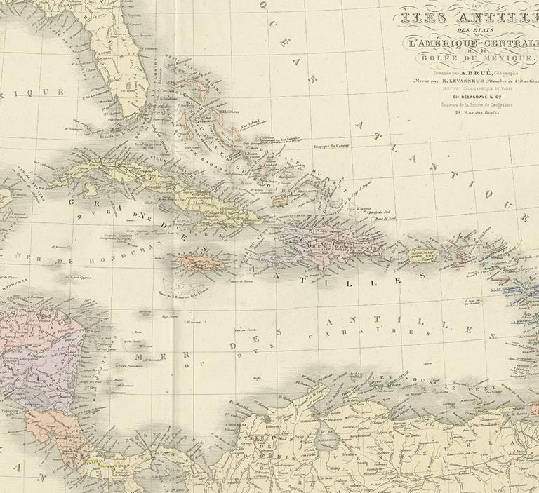 19th Century Antique Map of the Antilles by Levasseur, '1875' For Sale