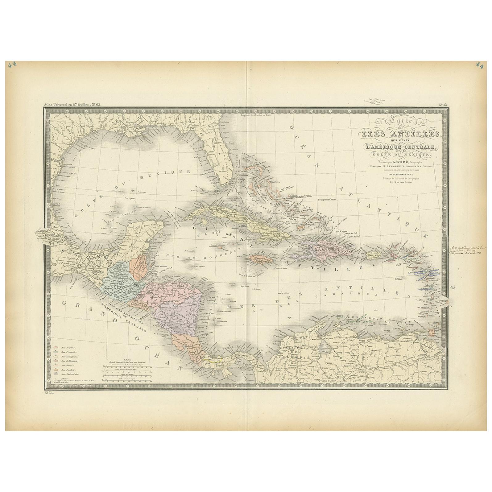 Antique Map of the Antilles by Levasseur, '1875'