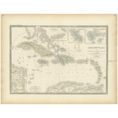 Antique Map of the Antilles 'or West Indies' by Levasseur '1875'