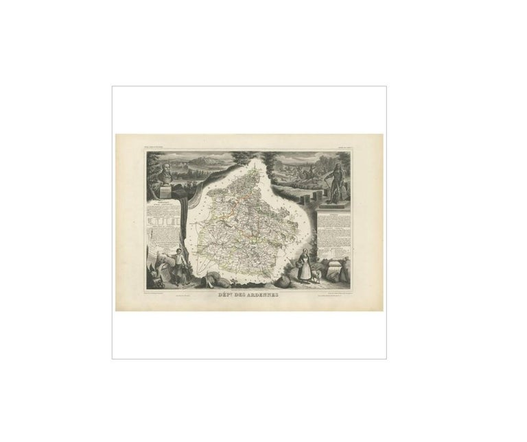 Antique map titled 'Dépt. des Ardennes'. Map of the French department of Ardennes, France. Part of France's important Champagne producing region. The whole is surrounded by elaborate decorative engravings designed to illustrate both the natural