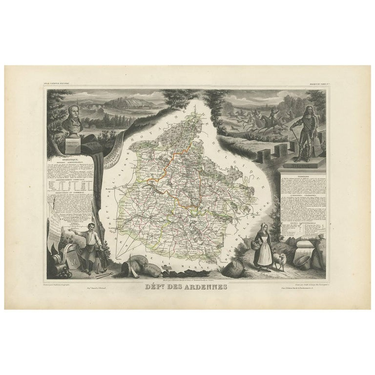 Antique Map of the Ardennes 'France' by V. Levasseur, 1854 For Sale