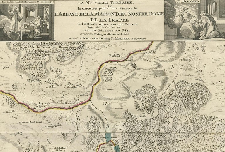 18th Century Antique Map of the Area around the Abbey in Soligny-la-Trappe 'c.1710' For Sale