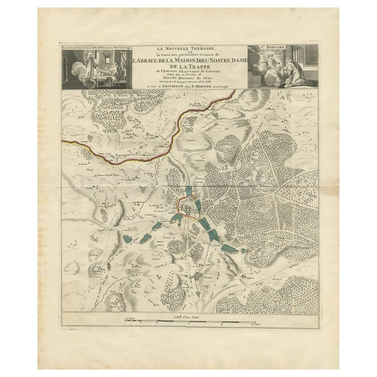 Antique Map of the Area around the Abbey in Soligny-la-Trappe 'c.1710' For Sale