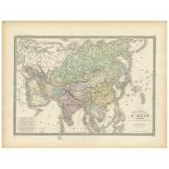 Antique Map of the Asian Continent by Levasseur, '1875'