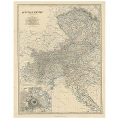 Antique Map of the Austrian Empire 'West' by A.K. Johnston, 1865