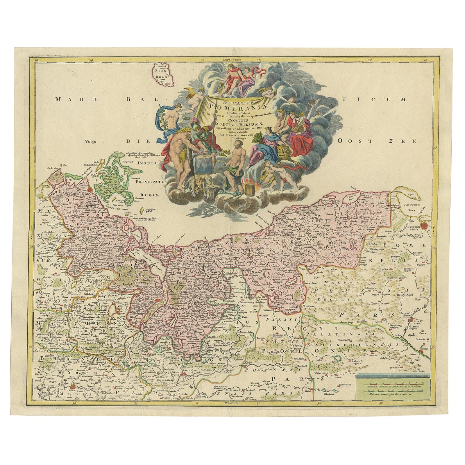 Antique Map of the Baltic Region by Homann 'circa 1710'