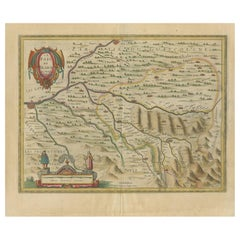 Antique Map of the Béarn Region by Janssonius, circa 1640
