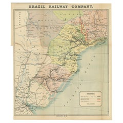 Antique Map of the Brazil Railway Company, '1912'