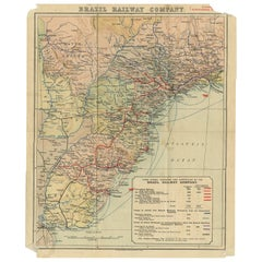 Antique Map of the Brazil Railway Company by Waterlow & Sons, circa 1910