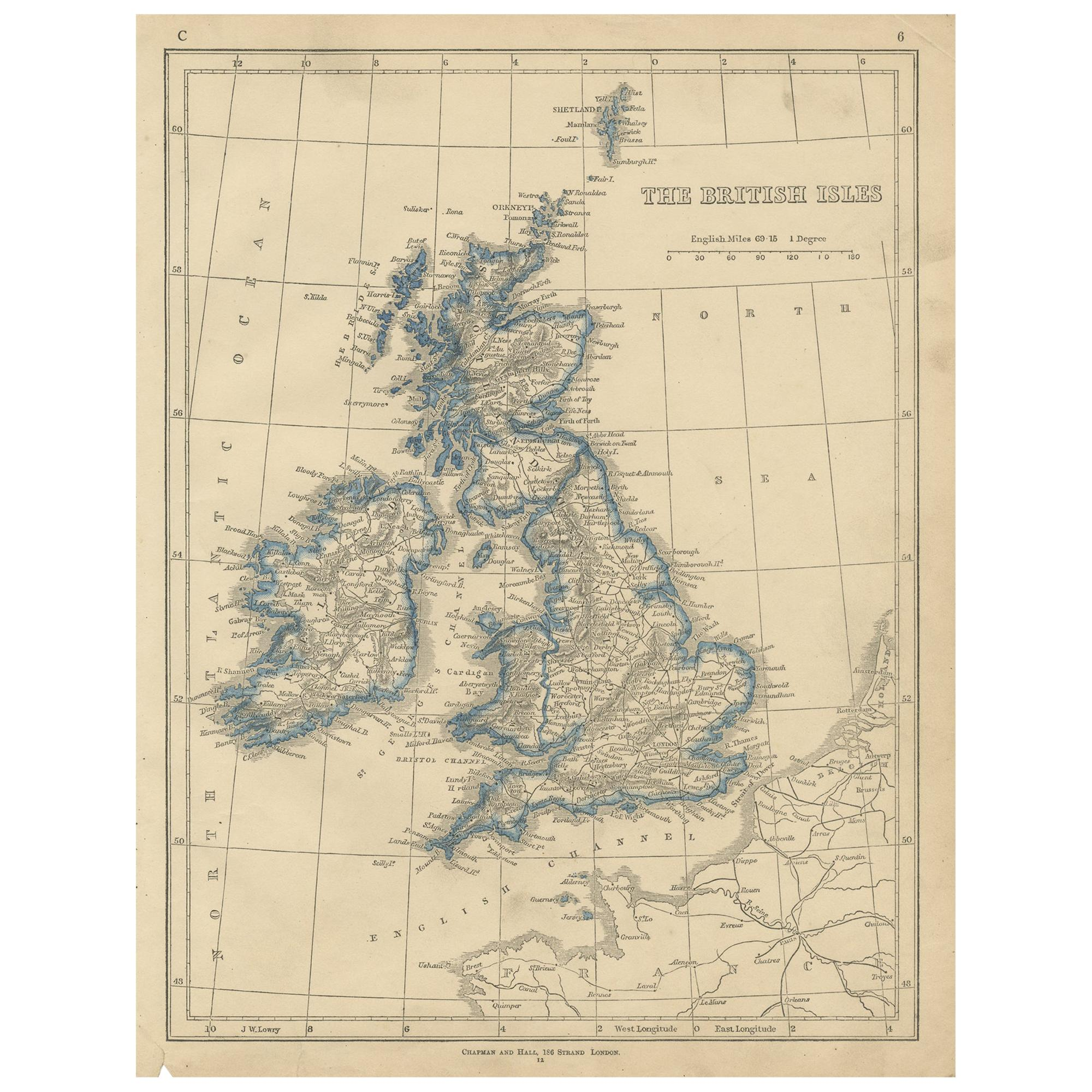 Antique Map of the British Isles by Lowry '1852'
