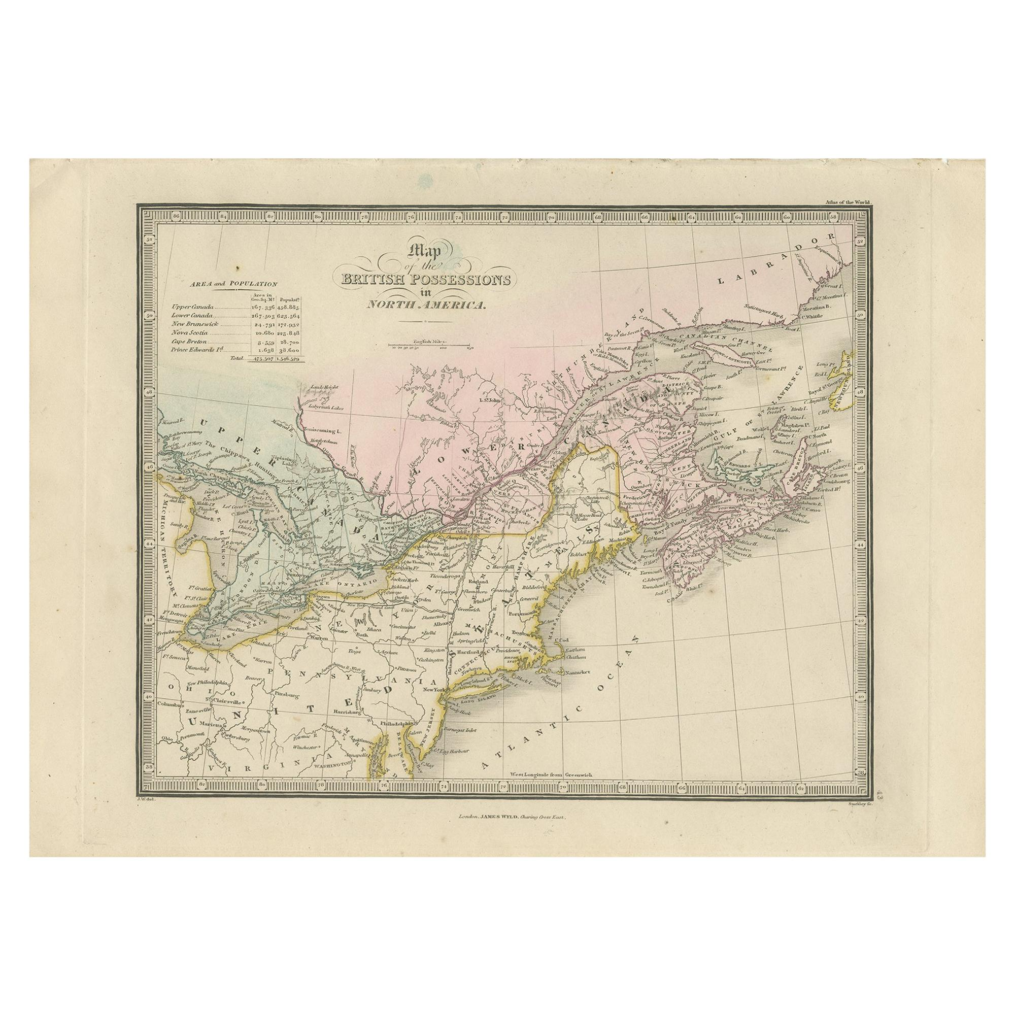 Antique Map of the British Possessions in North America by Wyld '1845'