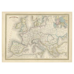 Antique Map of the Charlemagne Empire 'c.1860'