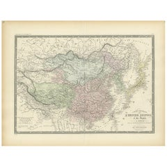 Antique Map of the Chinese Empire and Japan by Levasseur, '1875'