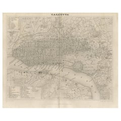 Antique Map of the City of Kolkata by Balbi '1847'