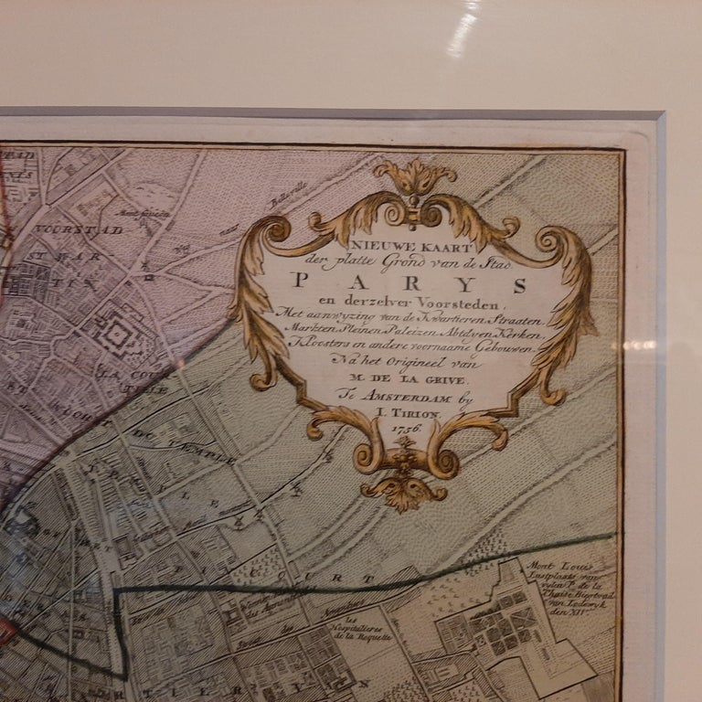 18th Century Antique Map of the City of Paris by Tirion '1763' For Sale