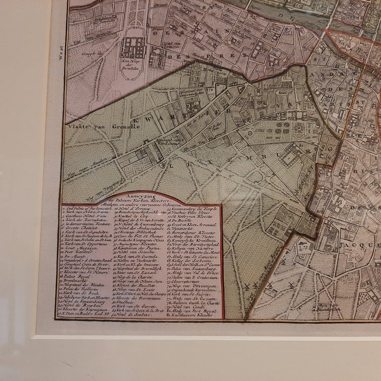 Paper Antique Map of the City of Paris by Tirion '1763' For Sale
