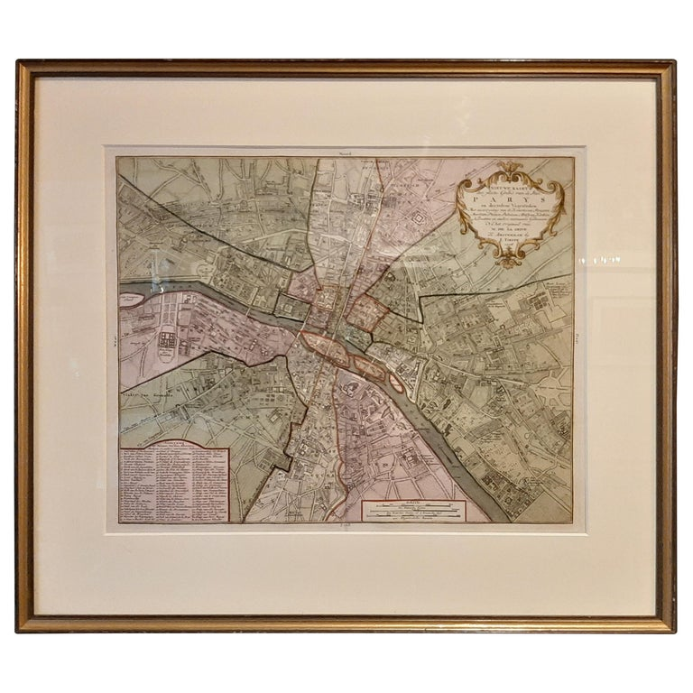 Antique Map of the City of Paris by Tirion '1763' For Sale
