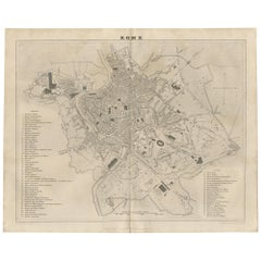 Antique Map of the City of Rome by Balbi '1847'