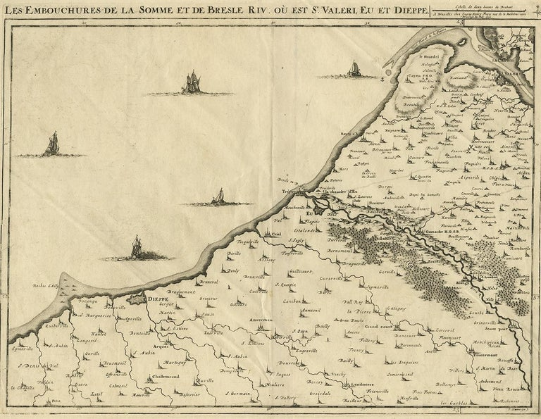 Map Of France North Coast.Antique Map Of The Coast Of France By J Harrewijn 1710