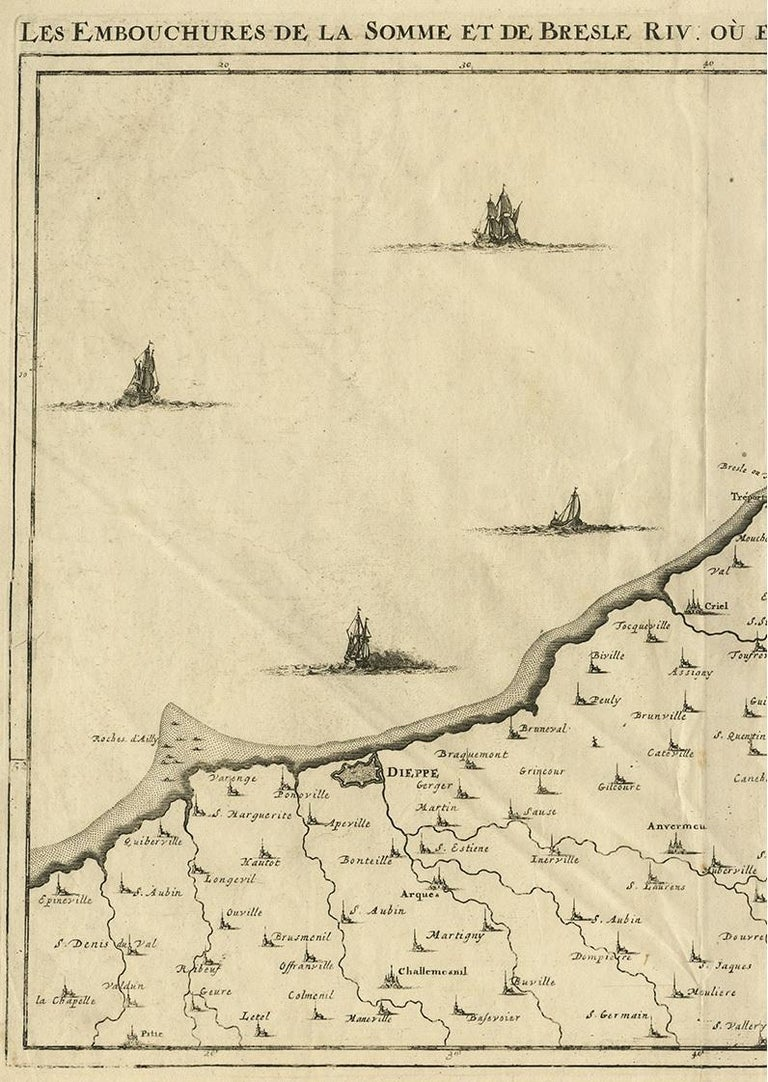 Antique Map of the Coast of France by J. Harrewijn, 1710 In Good Condition For Sale In Langweer, NL