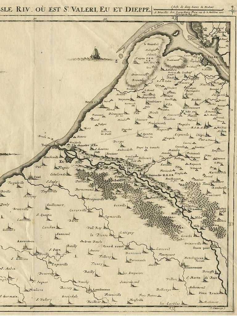 18th Century Antique Map of the Coast of France by J. Harrewijn, 1710 For Sale