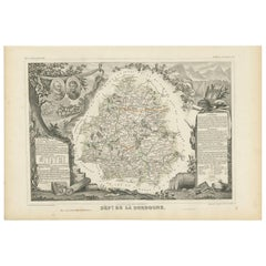 Antique Map of the Dordogne 'France' by V. Levasseur, 1854