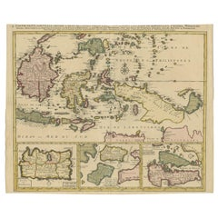 Antique Map of the East Indies and Part of Southeast Asia by Ottens, circa 1750