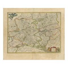 Antique Map of the Hainaut and Namur Region by Janssonius, 'circa 1640'