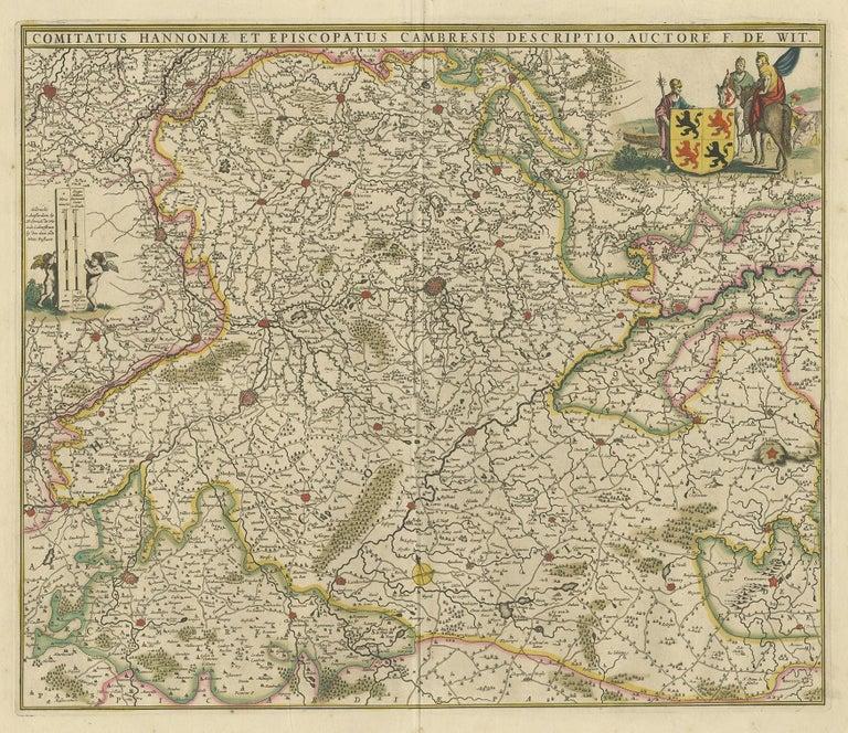 Antique map titled 'Comitatus Hannoniae et Episcopatus Cambresis Descriptio'. Large map of the Hainaut region, France. Published by F. de Wit, circa 1680.