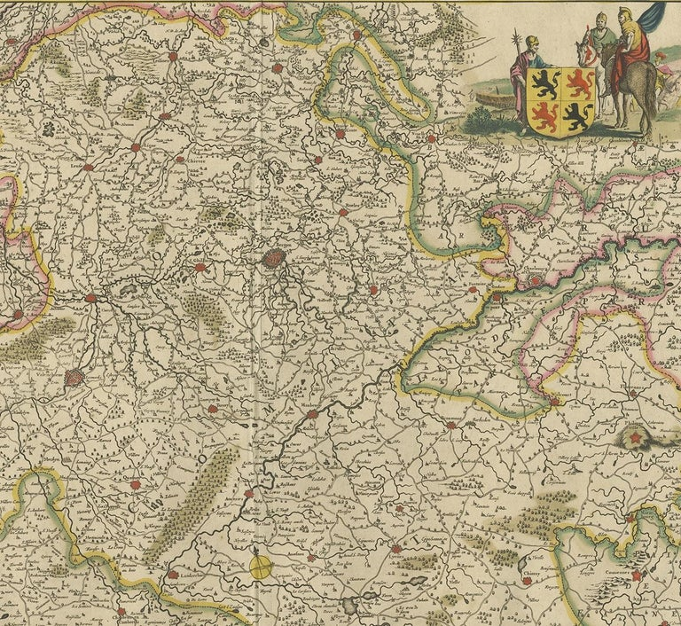 17th Century Antique Map of the Hainaut Region 'France' by F. de Wit, circa 1680 For Sale