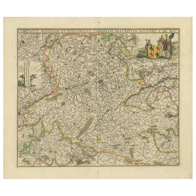 Antique Map of the Hainaut Region 'France' by F. de Wit, circa 1680 For Sale
